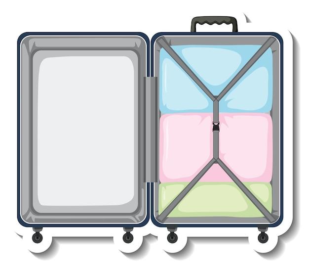 開いたスーツケースの上面図