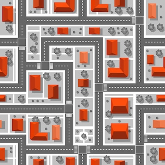 계획 도시의 상위 뷰. 원활한 반복 패턴입니다.