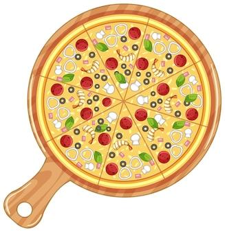 흰색 절연 전통 이탈리아 피자의 상위 뷰