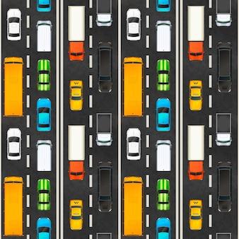 Вид сверху пробки с множеством реалистичных глянцевых автомобилей на шоссе, бесшовные модели