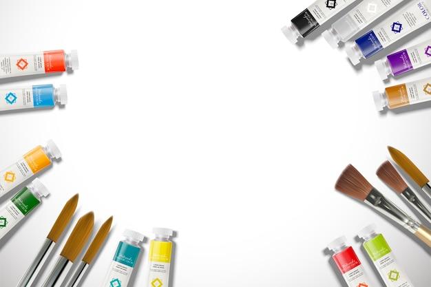 コピースペースで設定された水彩絵の具の上面図
