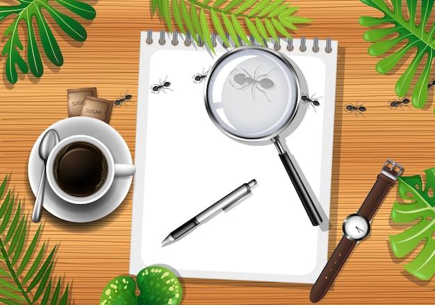 Office 개체와 나뭇잎 요소와 나무 테이블의 상위 뷰