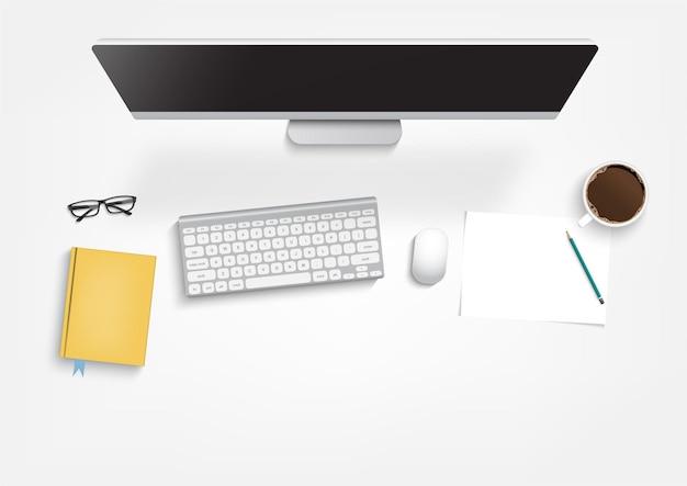 職場の背景、モニター、キーボード、ノートブック、電話、ドキュメント、プランナー、コーヒーの上面図。ワークスペース、分析、最適化、管理。