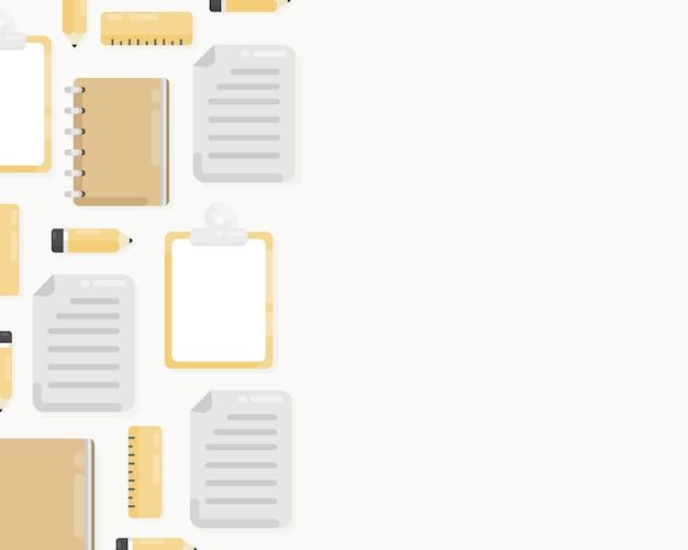 論文、ノート、鉛筆、クリップボードと職場の背景の平面図です。トップビューのひな形でオフィスのワークスペース。フラットレイアウトスタイル。コピースペースと背景。