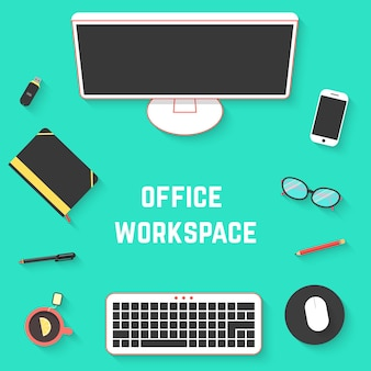Top view of office desk with pc. concept of routine, workflow, workstyle, paperwork, desktop, project development. isolated on green background. flat style trend modern design vector illustration