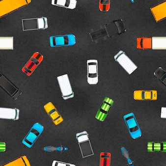 Вид сверху на множество реалистичных глянцевых автомобилей на асфальте