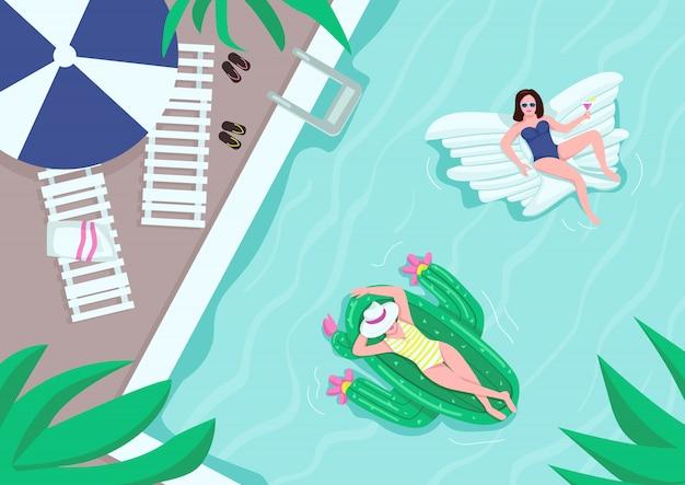 プールパーティーフラットカラーイラストの平面図です。タオル付きのラウンジチェア。水の近くの傘。背景にプールサイドでエアマットレス2dの漫画のキャラクターで休んでいる女性