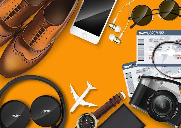 Вид сверху на шаблон концепции путешествия и туризма