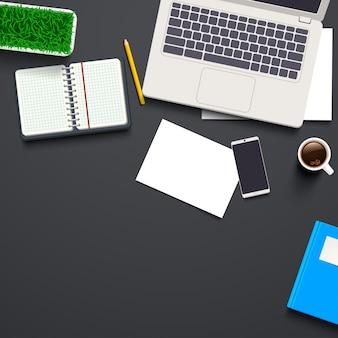 仕事机の平面図