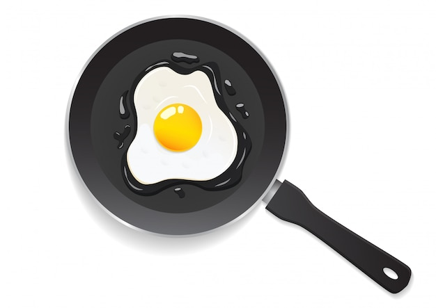 Top view of pan with fried egg