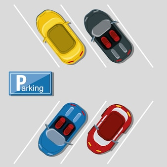 Top view of parking lot with parked cars colorful design