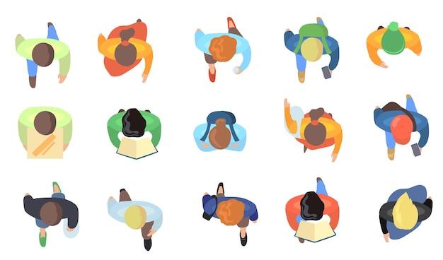 Top view of people walking illustrations set