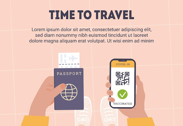 Top view of person holding a phone app with qr code as proof of covid vaccine in other hand is passport with airline boarding pass