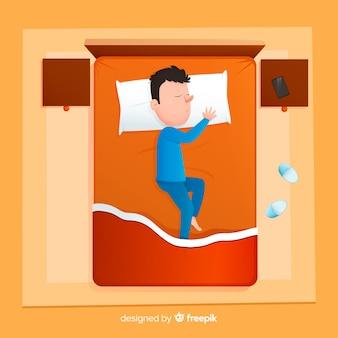 침대에서 자고 상위 뷰 사람