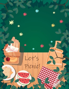 Top view picnic summer design