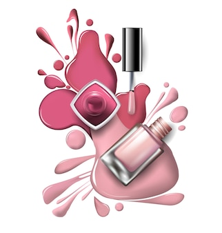 Top view of pink, lilac nail polish on white background cosmetics and fashion background template vector.