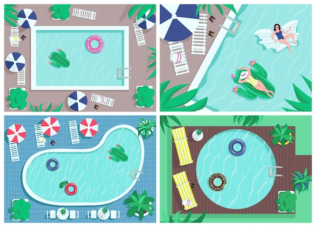 Top view pool flat color illustrations set