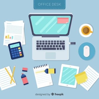 Top view of professional office desk with flat design