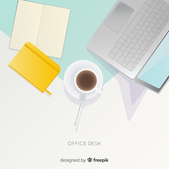 Top view of professional office desk