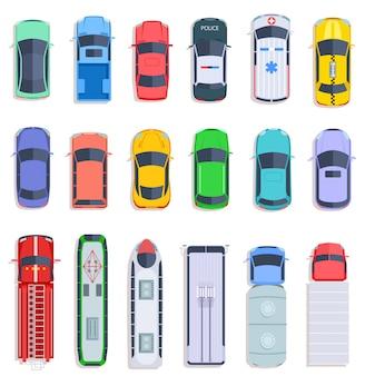 상위 뷰 대중 교통. 택시 및 경찰차, 시내 버스 및 구급차 차량. 배달 트럭, 기차 및 소방차 평면 벡터 세트