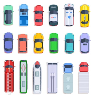 Top view public transport. taxi and police car, city bus and ambulance vehicle. delivery truck, train and fire engine flat vector set