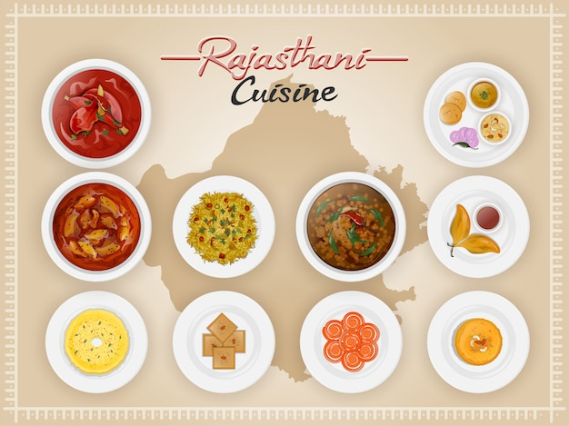 Top view of rajasthani cuisine set.