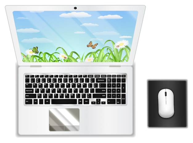 Top view real white laptop computer with mouse