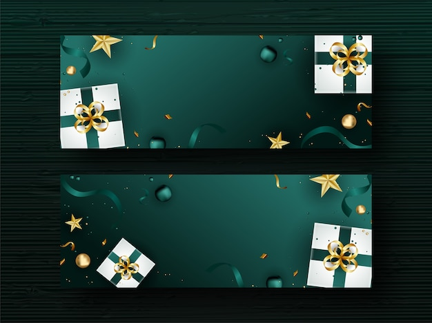 Top view of realistic gift boxes with golden stars