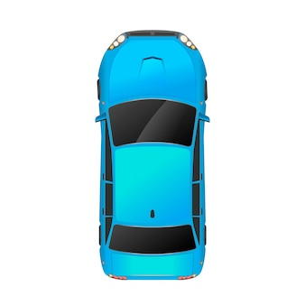 Top view of realistic glossy blue car on white