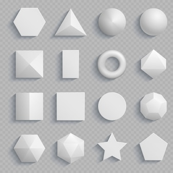 Top view realistic math basic shapes isolated on transparent