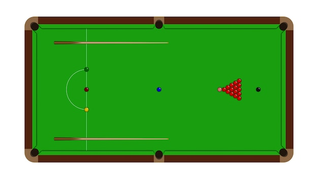 Top view of realistic snooker table
