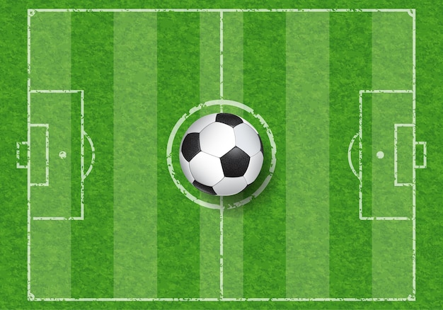 草のテクスチャとサッカー場の平面図のリアルなサッカーボール