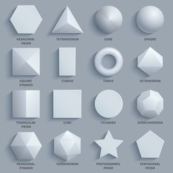Top view realistic white math basic 3d shapes vector set.