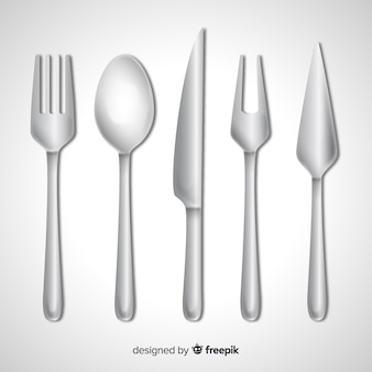 Top view of restaurant cutlery with realistic design