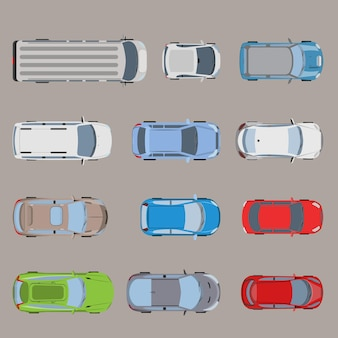 Top view road transport vehicle car automobile van bus micro suv sedan wagon truck roadster sportscar icon set.