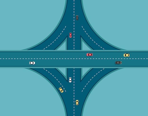別の車でトップビュー道路。アウトバーンと高速道路のジャンクション。交通要素を持つ都市インフラ。フラットなモダンなスタイルのイラスト。
