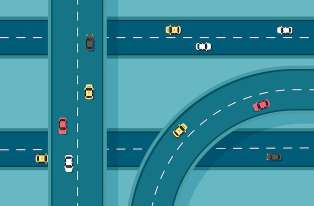 Top view road with different cars. autobahn and highway junction. city infrastructure with transportation elements. illustration in a flat modern style.