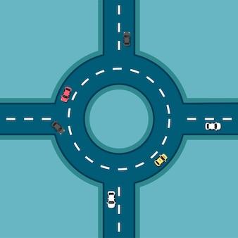 다른 자동차와 함께 상위 뷰 도로. 원형 교차로. 교차로. 아우토반과 고속도로 교차점. 플랫 모던 스타일의 교통 요소가있는 도시 인프라.