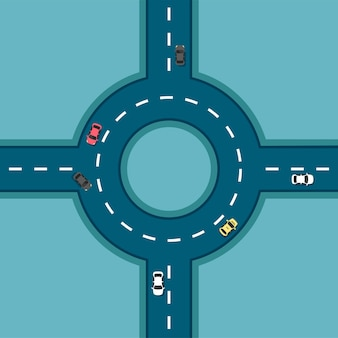 Top view road with different cars. roundabout. crossroads. autobahn and highway junction. city infrastructure with transportation elements in a flat modern style.
