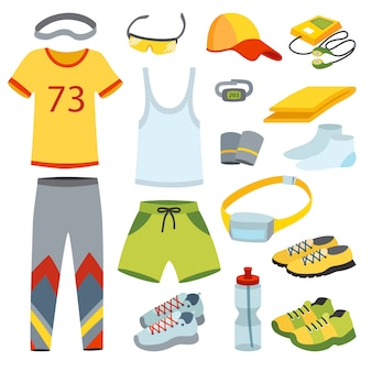 Top view running clothes cartoon flat  illustration.