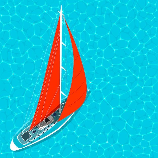 Вид сверху парусная лодка на воде летом