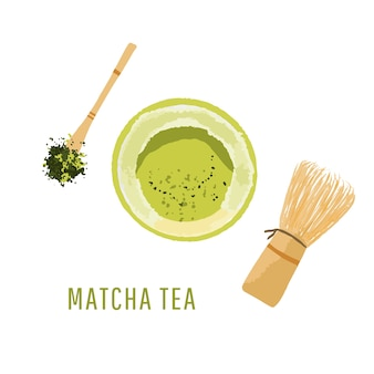 Top view set of matcha powder bowl, wooden spoon and whisk, green tea leaf, isolated on white background illustration
