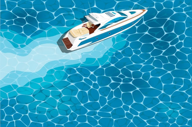 Top view speed boat on water. luxury yacht race, sea regatta poster.