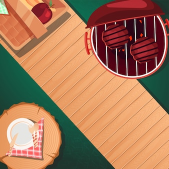 Top view summer picnic design