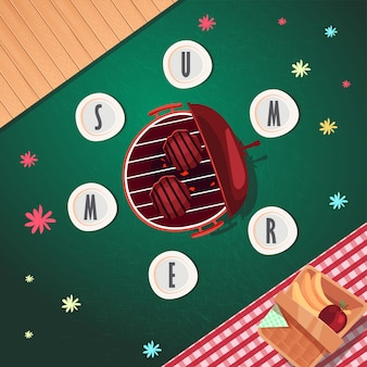 Top view summer poster design