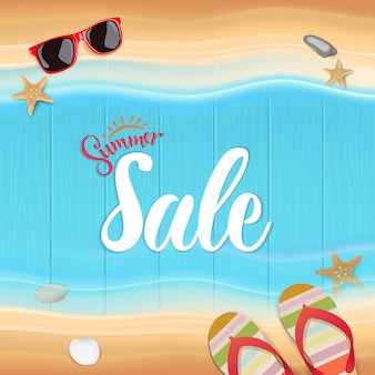Top view, summer sale text on wooden, vector illustration.