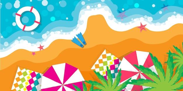 Вид сверху летние каникулы. пляжный отдых. время путешествовать.