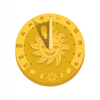 Top view of sundial icon with shadow. concept of clock face with roman numerals, timer silhouette, measuring, astrology, sun character face . flat style trendy   illustration