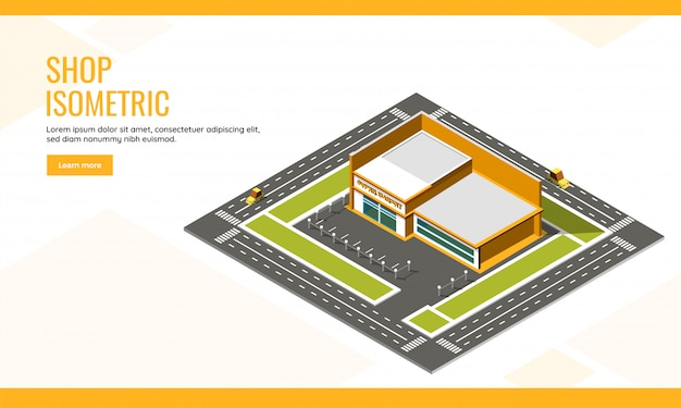 Top view of supermarket building long vehicle transport street background for shop concept based isometric landing page design.