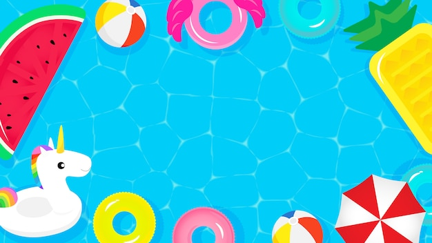 Top view of swimming pool with cute pool floats